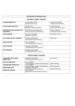 bölüm kalite sorumluları kurumsal hizmet yönetimi destek hizmeti