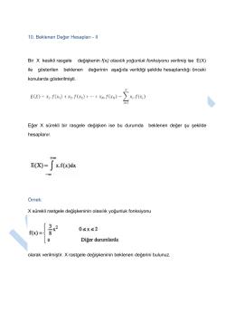 10. Beklenen değer hesapları II