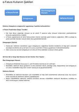 e-Fatura Kullanım Şekilleri