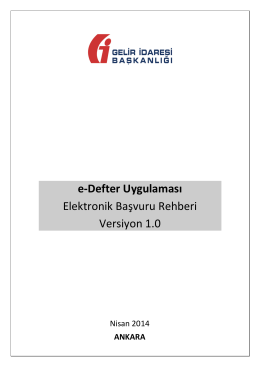 e-Defter Elektronik Başvuru Rehberi - e