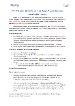 2014-2015 Eğitim-Öğretim Yılı için Farabi Değişim Programı