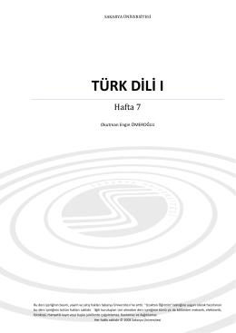 TÜRK DİLİ I - Ekampus - Sakarya Üniversitesi
