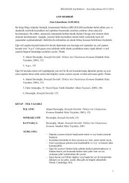 BİLGESAM Atıf Rehberi - Bilge Strateji Dergisi