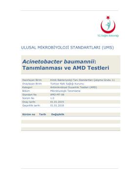 Acinetobacter baumanii ve AMD testleri