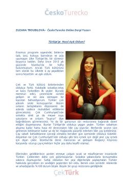 ZUZANA TROUBILOVÁ– ČeskoTurecko Online Dergi Yazarı Türkiye