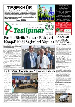 TEŞEKKÜR - yeşilpınar gazetesi