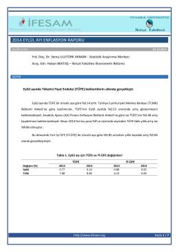 2014 Eylül Ayı Enflasyon Raporu