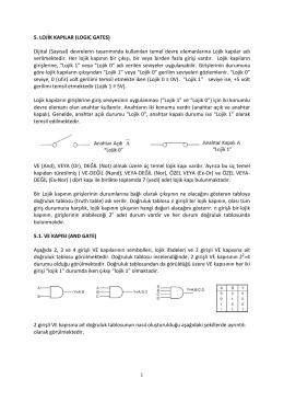 1 5. LOJİK KAPILAR (LOGIC GATES) Dijital (Sayısal) devrelerin