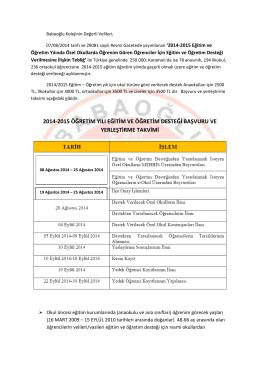 2014-2015 öğretim yılı eğitim ve öğretim desteği başvuru ve