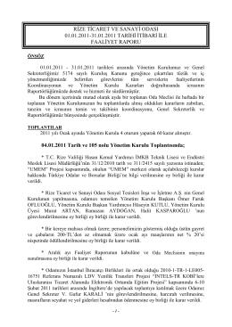 Ocak Faaliyet Raporu - Rize Ticaret ve Sanayi Odası