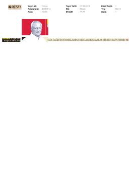 Yayın Adı : Dünya Yayın Tarihi : 07.08.2014 Küpür Sayfa : 1