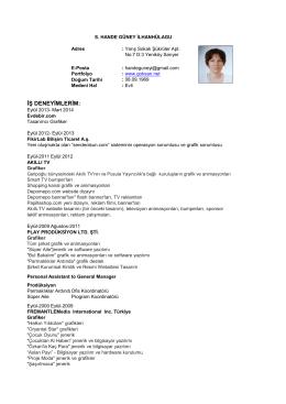 Detaylı CV indir - Hande Güney İLHANHÜLAGU