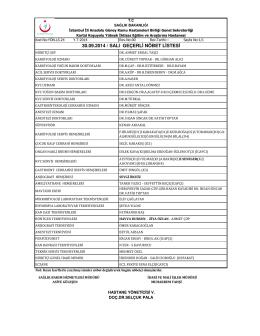 30.09.2014 / salı geçerli nöbet listesi