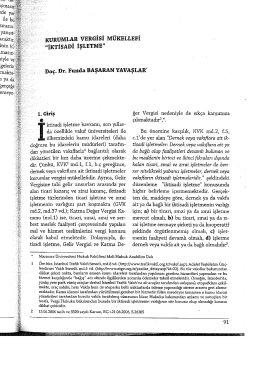 KURUMLAR VERGİSİ MÜKELLEFİ - Prof. Dr. Funda Başaran Yavaşlar