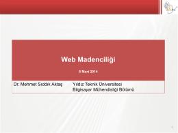 Web Madenciliği - Yıldız Teknik Üniversitesi