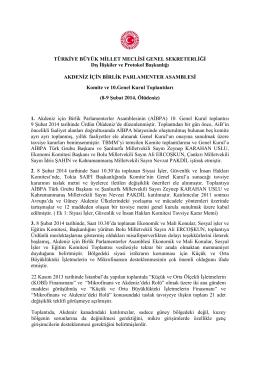 10. Genel Kurul Toplantıları (8-9 Şubat 2014, Ürdün)