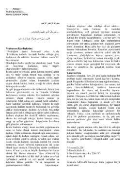 بِسْمِ اّلله ِ الرَّحْمَنِ الرَّحِيمِ Kadının aleyhine olan cahiliye devri adetleri