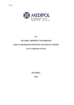 Tez Yazım Kılavuzu - Medipol Üniversitesi