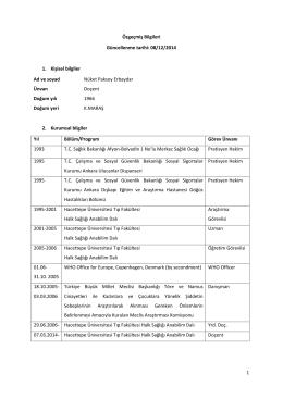 08/12/2014 1. Kişisel bilgiler Ad ve soyad Nüket Paksoy Erbaydar