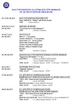 Aylık Program - ege üniversitesi atatürk kültür merkezi