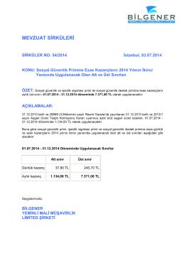 54 - SGK Primleri İçin Alt ve Üst Sınırlar Temmuz 2014