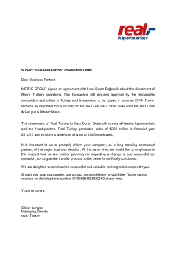 Subject: Business Partner Information Letter Dear Business