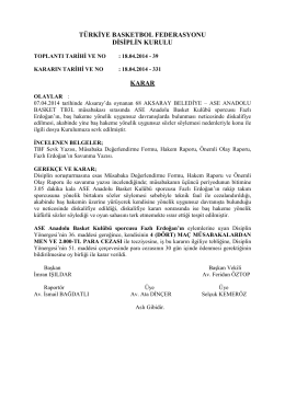 karar 331 68 aksaray belediye – ase anadolu basket tb3l