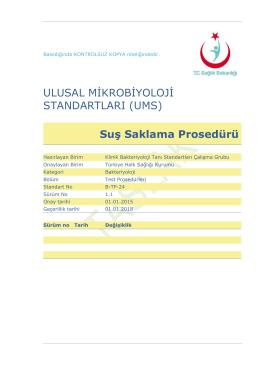 Suş saklama prosedürü - Türkiye Halk Sağlığı Kurumu