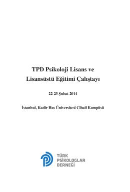 TPD Psikoloji Lisans ve Lisansüstü Eğitimi Çalıştayı