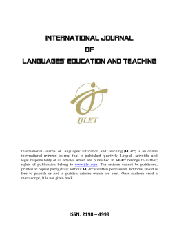 INTERNATIOL JOURNAL OF LANGUAGE EDUCATION AND