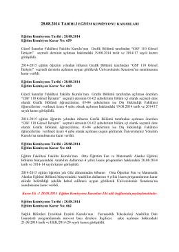 28.08.14 tarihli Eğitim Komisyonu Kararları