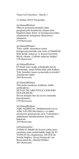 Tasavvuf Gazetesi ~Sayfa 1 13 Şubat 2014
