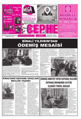 29.12.2014 Tarihli Cephe Gazetesi