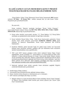 konut projesi teslim işlemleri ile ilgili bilgilendirme notu