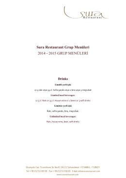 Sura Restaurant Grup Menüleri 2014