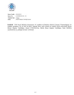 KARAR : 5393 Sayılı Belediye Kanununun 19. maddesi ile Belediye