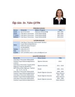 Öğr.Gör. Dr. Tülin ÇETİN - Celal Bayar Üniversitesi