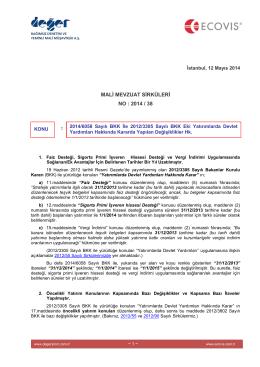 2014-38 Yatırımlarda Devlet Yardımları Hk Kararda Yapılan