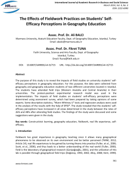 Efficacy Perceptions in Geography Education