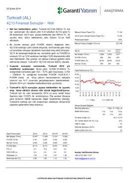 Turkcell (AL) - Garanti Yatırım
