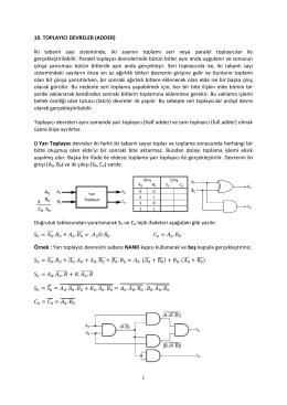 1 10. TOPLAYICI DEVRELER (ADDER) İki tabanlı sayı sisteminde