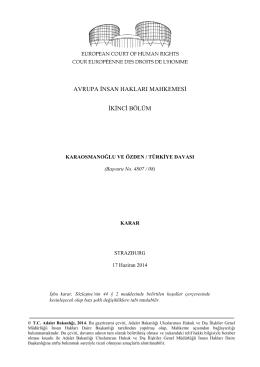 17 Haziran 2014 tarihli Karaosmanoğlu ve Özden