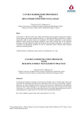 Can-Bus Haberleşme Protokolü İle Bina Enerji Yönetimi Uygulaması