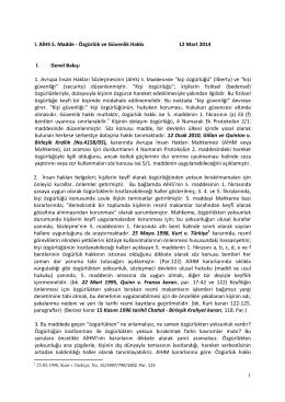 1 I. AİHS 5. Madde - Özgürlük ve Güvenlik Hakkı 12 Mart 2014 I