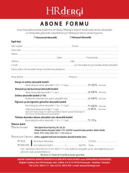 ABONE FORMU - HR İnsan Kaynakları ve Yönetim Dergisi