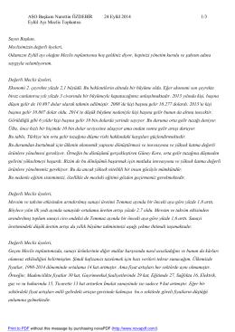 ASO Başkanı Nurettin ÖZDEBİR 24 Eylül 2014 1/3 Eylül Ayı Meclis