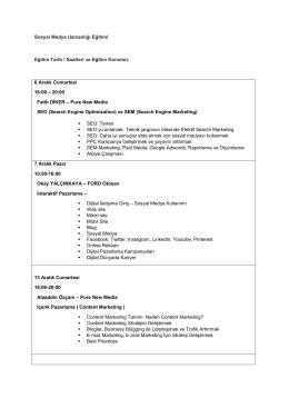 Sosyal Medya Uzmanlığı Eğitimi Eğitim Tarih / Saatleri ve Eğitim