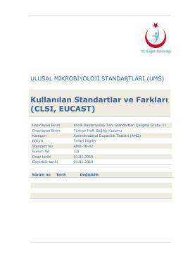 Kullanılan standartlar ve farkları (CLSI, EUCAST)