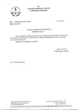 Müdürlüğümüzün konu ile ilgili 24/11/2014 tarih ve 5655905 sayılı