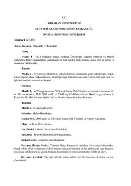 [27.2.2014] Ardahan Üniversitesi 2014 Ön Mali Kontrol Yönergesi